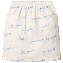 Tinycottons Bon Appétit Mid-Length Skirt Off-White/Cerulean Blue off-white/cerulean blue