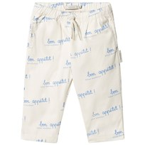 Tinycottons Bon Appétit Pants Off-White/Cerulean Blue off-white/cerulean blue