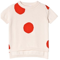Tinycottons Dots SS Sweater Light Pink/Carmine