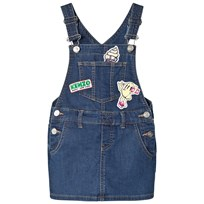 Kenzo Indigo Dungaree Dress with Badges and Embroidered Branding 463