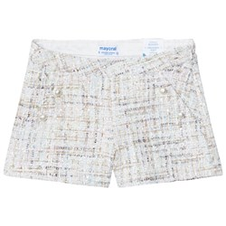 Mayoral Pale Blue and Pink Sequin Tweed Shorts