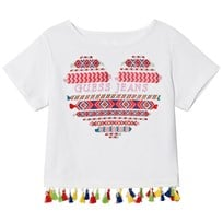 Guess White Heart Embroidered Tassle Tee TWHT
