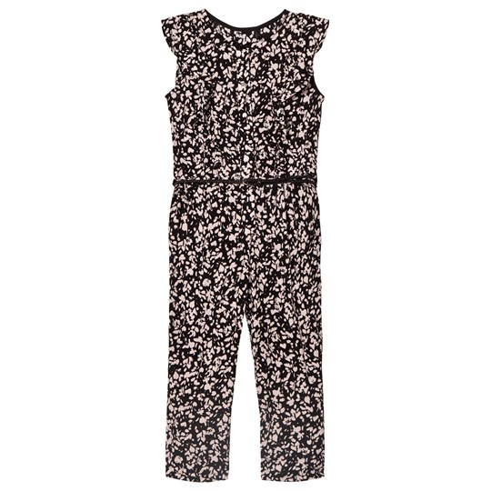 IKKS Pink and Black Floral Frill Jumpsuit 02