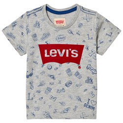 Levi's Kids Grey All Over Print and Logo Tee