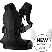 Babybjörn Baby Carrier One in Black Cotton Mix with Teething Bib Black, Cotton