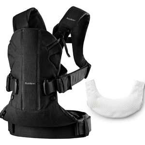 Image of Babybjörn Baby Carrier One in Black Cotton Mix with Teething Bib One Size (1066920)