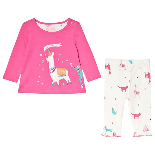 Tom Joule Bright Pink Party Parade Poppy Long Sleeve Top and Frill Leggings Set BRIGHT PINK PARTY PARADE