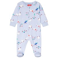 Tom Joule Blue All Over Tortoise and Hare Print Babygrow SKY BLUE TORTOISE AND HARE