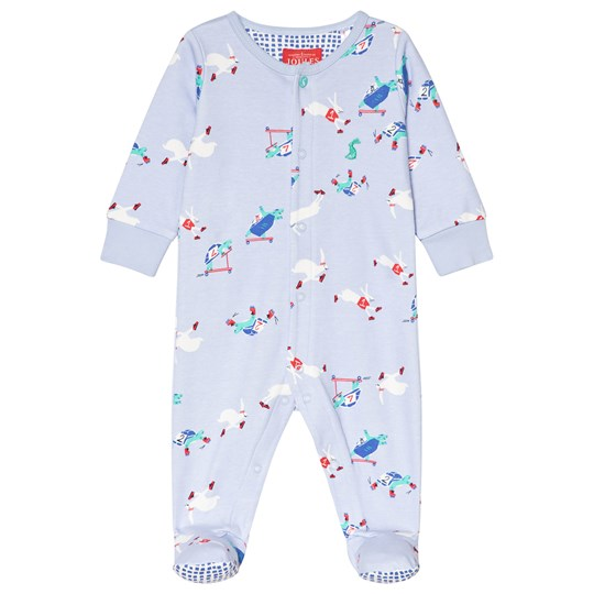 Tom Joule Sky Blue Tortoise and Hare Ziggy Printed Footed Baby Body SKY BLUE TORTOISE AND HARE