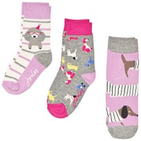 Tom Joule Purple and Grey 3 Pack Character Socks dog