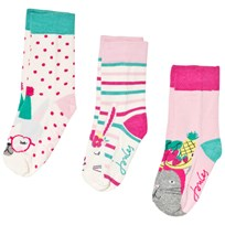 Tom Joule Cream and Pink 3 Pack Party Animal Socks PARTY ANIMALS