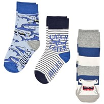Tom Joule Blue Shark Character 3 Pack Socks SHARK