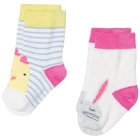 Tom Joule Cream and Stripe Bunny and Chick 2 Pack Socks BUNNY