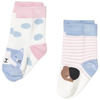 Tom Joule Cream and Stripe Cat and Dog 2 Pack Socks True Pink Cat