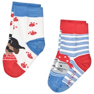 Image of Tom Joule Blue and Red Dog Pirate 2 Pack Socks 1-2 years (2954433297)