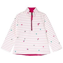 Tom Joule Cream and Pink Stripe and Spotted 1/4 Zip Fleece Pinkspot