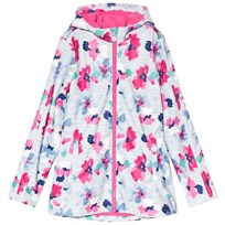 Tom Joule Pink Floral and Blue Stripe Rubber Raincoat LILY POND STRIPE