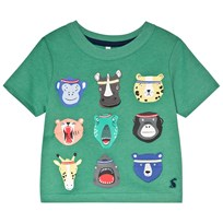 Tom Joule Green Animal Faces Applique Jersey Tee APPLE GREEN ANIMALS