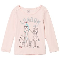 GAP Glitter City Logo Tee Pink