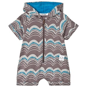 Image of Indikidual Brown and Grey Wave Print Hooded Romper 0-6 months (2956642361)