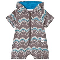 Indikidual Brown and Grey Wave Print Hooded Romper Charcoal