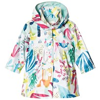 Catimini White Tropical Floral Raincoat with Detachable Hood 13