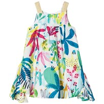 Catimini White Tropical Floral Sun Dress with Ruffle Side Panels 13