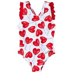 Catimini Heart Lollypop Swimsuit White and Red