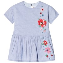 Catimini Blue and White Stripe Chambray Dress with Floral Embroidery 40