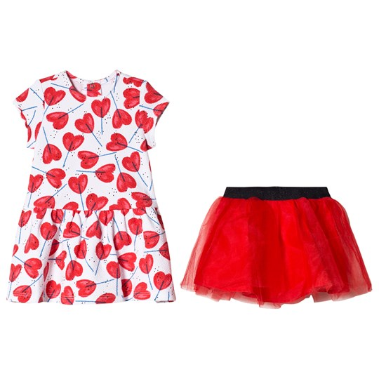 Catimini Waffle Knit Dress and Tulle Underskirt White and Red 01