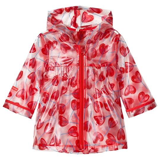 Catimini Printed Rubberised Raincoat Red 16