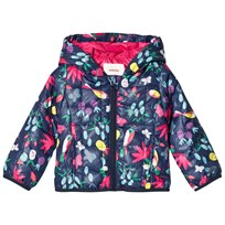 Catimini Navy Floral and Tropical Birds Print Quilted Padded Coat 88