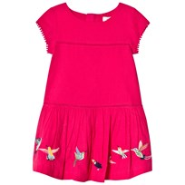 Catimini Pink Dobby Dress with Embroidred Birds 85