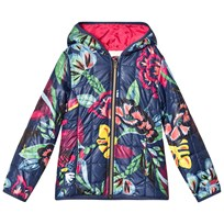 Catimini Navy Floral Print and Toucan Quilted Padded Coat 88