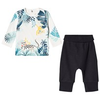 Catimini Whtie Jungle Animals Print Tee and Jersey Trouser Set 28