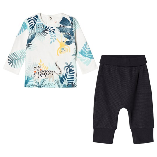 Catimini White Jungle Animals Print Tee and Jersey Trouser Set 28