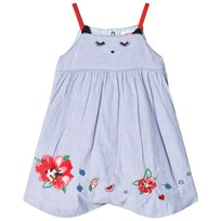 Catimini Blue Stripe Cat Face and Floral Embroidered Short Bubble 40