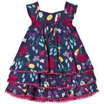 Catimini Navy Floral and Tropical Birds Print Dress with Pom Pom Detail 88