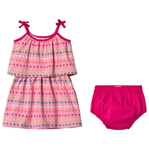 Image of Hatley Pink Heart Stripes Mini Layered Dress 12-18 months (2956640285)