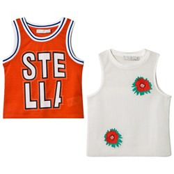 Stella McCartney Kids Red Layered Mesh Branded Embroidered Vest