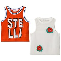 Stella McCartney Kids Red Layered Mesh Branded Embroidered Vest 6165