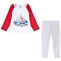 Petit Bateau Silkscreen Print Pajamas Red and Grey