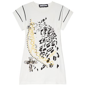 Image of Relish Cream Leopard Graphic Print and Embellished Tee Dress 10 years (2956638347)