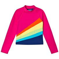 Lands End Pink Long Sleeve Colour Block UPF50 Rashguard with Rainbow GB9