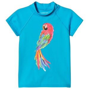 Image of Lands End Blue Short Sleeve Parrot Graphic UPF50 Rashguard 3-4 years (2956638417)