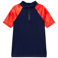 Lands End Navy Active Rashguard with Red Short Sleeves HME