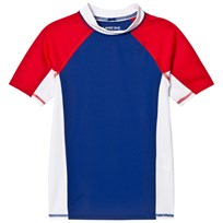 Lands End Navy, White and Red Colour Block Short Sleeve Rashguard U16