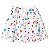 Lands End Fun Doodle Gathered Pattern Skirt White 7ZT