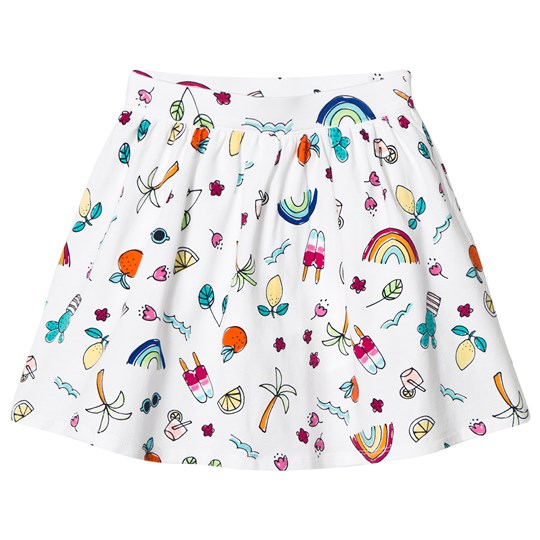Lands' End Fun Doodle Gathered Pattern Skirt White 7ZT