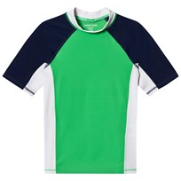 Lands End Green, White and Navy Colour Block Short Sleeve Rashguard ZAD